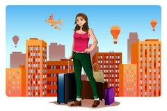 Jovem mulher que viaja em todo o mundo conceito Imagem de Stock