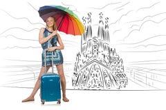 A jovem mulher que viaja a spain para ver o familia de sagrada Imagem de Stock