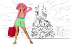 A jovem mulher que viaja a spain para ver o familia de sagrada Fotos de Stock Royalty Free