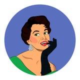 A jovem mulher retro bonita com luvas Fotografia de Stock Royalty Free