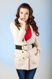 Jovem mulher sensual com cabelos marrons longos bonitos Imagens de Stock Royalty Free