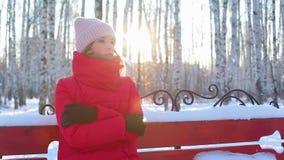 A jovem mulher senta-se no banco no parque pictórico da cidade com os vidoeiros no inverno video estoque