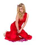 Jovem mulher 'sexy' em pouco assento do vestido, isolado no branco Fotos de Stock Royalty Free