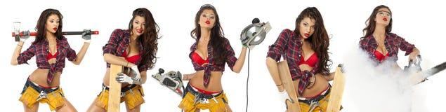 A jovem mulher 'sexy' mostra ferramentas da construção Imagem de Stock