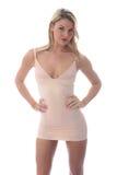 Jovem mulher 'sexy' que levanta em Mini Dress apertado curto Fotografia de Stock Royalty Free
