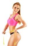 Jovem mulher 'sexy' que mede-se Perda de peso fotografia de stock royalty free