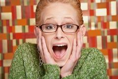 Jovem mulher surpreendida Imagens de Stock
