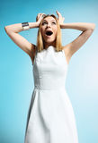 jovem mulher surpreendida Foto de Stock