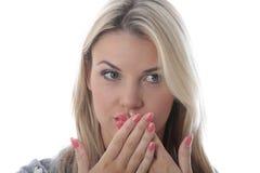 Jovem mulher surpreendida Imagem de Stock