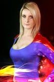 Jovem mulher vestida no super-herói Fotografia de Stock Royalty Free