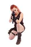 Jovem senhora bonita do ruivo militar imagens de stock
