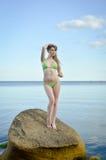 Jovem senhora com cabelo louro longo no roupa de banho Imagem de Stock Royalty Free