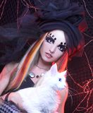 Jovem senhora com gato. Fotos de Stock Royalty Free