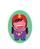 Jovem senhora de riso e de sorriso Funny Avatar de Person Cartoon Character pequeno no vetor liso Imagens de Stock Royalty Free