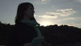 A jovem senhora lê o livro durante o por do sol vídeos de arquivo