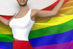 A jovem senhora na saia brilhante guarda a bandeira nas mãos atrás de sua parte traseira no fundo branco - ilustração de Gay Prid ilustração do vetor