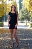 Jovem senhora no vestido de cocktail e em sapatas alto-colocadas saltos Fotografia de Stock Royalty Free