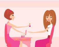 Jovem senhora que faz o manicure no salão de beleza ilustração stock