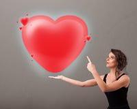Jovem senhora que guardara o coração bonito do vermelho 3d ilustração royalty free