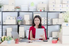 Jovem senhora que trabalha em casa o escrit?rio fotografia de stock