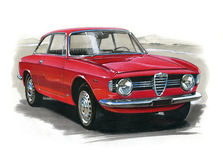 Joven de Romeo Giulia GT 1300 de la alfa stock de ilustración