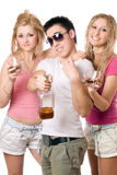 Jovens alegres com uma garrafa Imagens de Stock