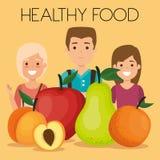 Jovens com alimento saudável dos frutos ilustração do vetor