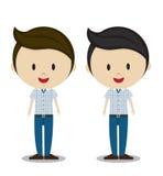 Jovens dos desenhos animados bonitos na roupa ocasional à moda Imagens de Stock