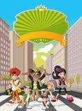 Jovens dos desenhos animados do moderno na rua Foto de Stock Royalty Free