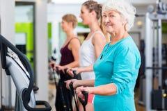 Jovens idosos e em placas de vibração no gym Fotografia de Stock