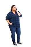 Telefone positivo da mulher do tamanho Fotos de Stock