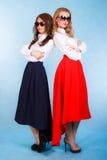 Jovens mulheres bonitas no saias longas imagem de stock