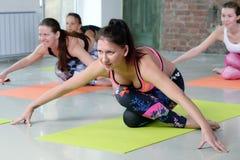 Jovens mulheres do grupo que esticam e ioga das práticas Fotos de Stock Royalty Free