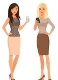 Jovens mulheres elegantes na roupa ocasional esperta ilustração stock