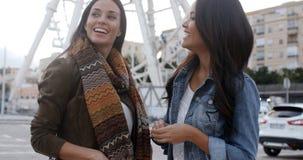 Jovens mulheres felizes do divertimento na frente de uma roda de ferris Imagens de Stock Royalty Free