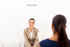 Entrevista de trabalho da mulher Imagens de Stock Royalty Free