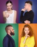 Jovens positivos e emoções negativas ajustadas Fotografia de Stock Royalty Free