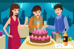 Jovens que comemoram uma festa de anos ilustração do vetor