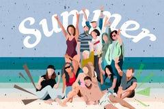 Jovens que dançam na praia em ternos de natação e em short, ilustrações do vetor do estilo dos desenhos animados isoladas no fund ilustração stock