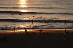 Jovens que nadam e que surfam na praia no por do sol Foto de Stock