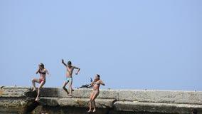 Jovens que têm o divertimento do verão no mar vídeos de arquivo