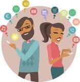 Jovens que usam smartphones ilustração stock