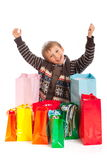 Jovial Boy with Shopping Bags royalty free stock images