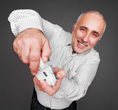 Jovial man oncentrated on gaming Royalty Free Stock Photos
