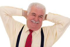 Jovial senior man with a moustache Royalty Free Stock Image