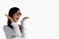 Joy. Beautiful girl screaming out of joy isolated on white Stock Photo