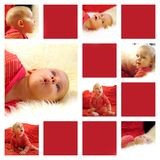 Joy. Beautiful child in bright red background Stock Photography