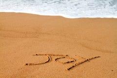 Joy. The word joy written on the beach in the sand Royalty Free Stock Photos