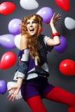 Joy. Shot with balloons expressing joy Stock Photo