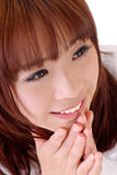 Joy. Expression of joy, closeup portrait of Asian businesswoman Royalty Free Stock Photography